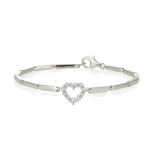 Cuboid link and clawset heart charm bracelet (0.25ct)