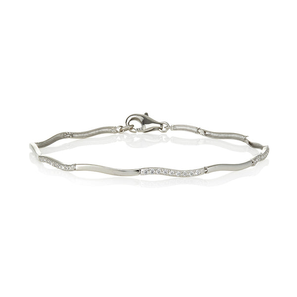 Curvy plain links & curvy clawset link bracelet (0.30ct)