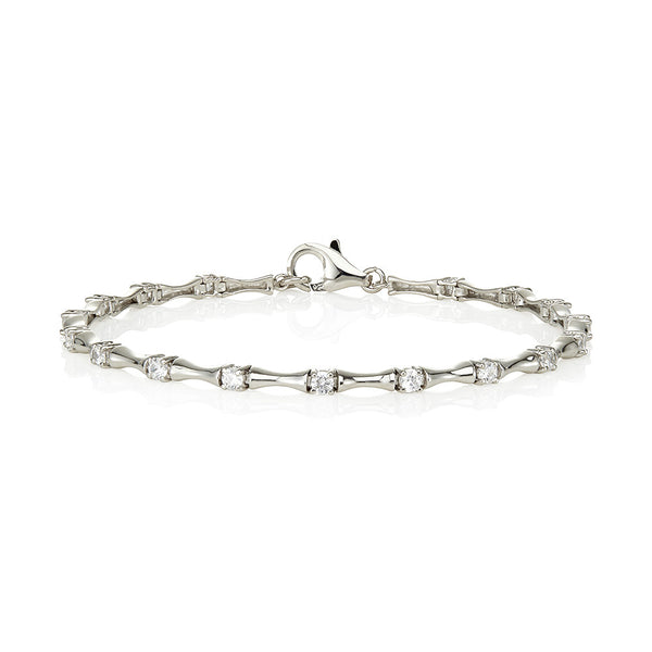 Inverted plain boat shaped links & 4 claw stone bracelet (1.40ct)