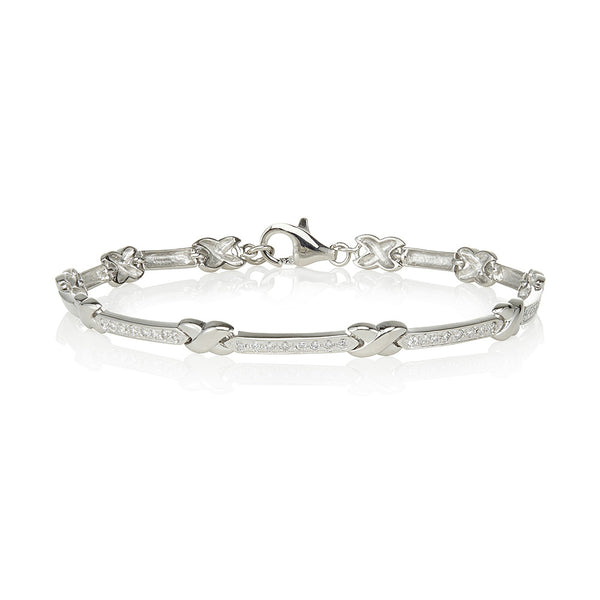 Grain set bars & plain kisses bracelet (0.35ct)