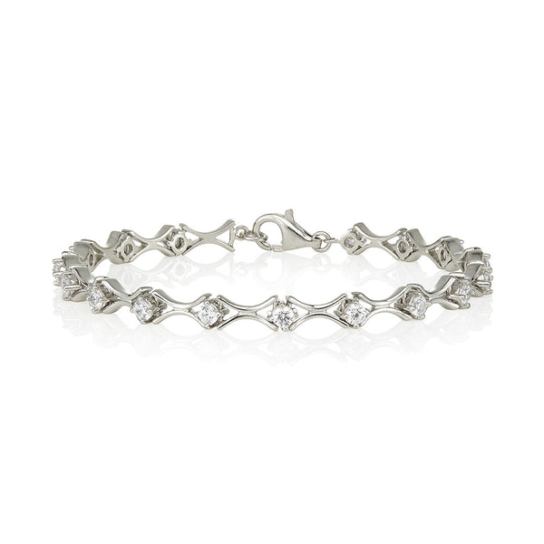 Inverted plain links & 4 claw stones bracelet (2.25ct)