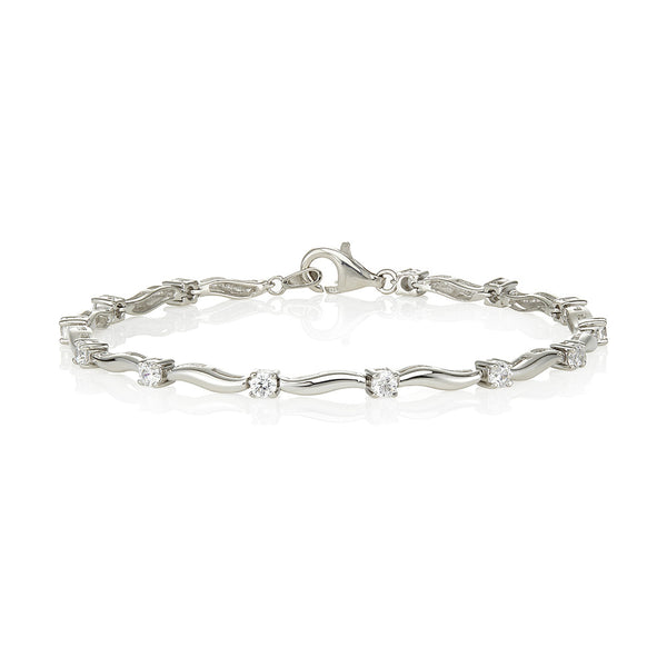 Curvy plain link and 4 claw single stone bracelet (1.60ct)