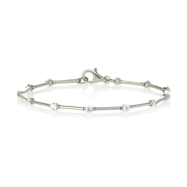 Thin plain bars and 4 claw single stone bracelet (2.40ct)