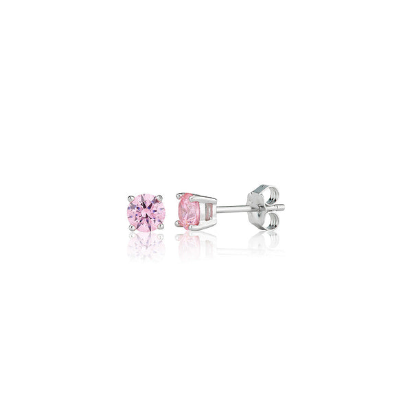 Pink Single Stone Four Claw Stud Earrings (1.00ct)