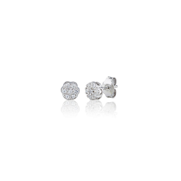 Seven Stone Round Cluster Stud Earrings (0.25ct)