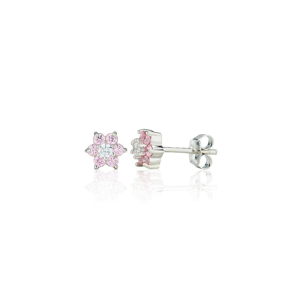 E2087P Pink Seven Stone Flower Cluster Stud Earrings (0.50ct)
