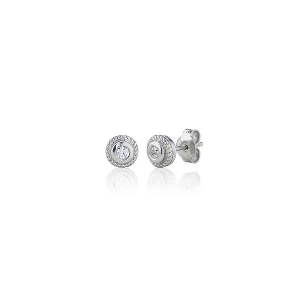 Single Stone Rubover Ornate Stud Earrings (0.20ct)