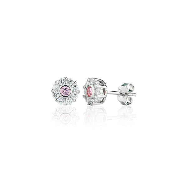 E2315P Pink Nine Stone Cluster Stud Earrings (0.50ct)