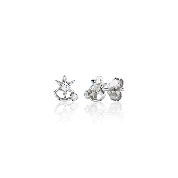 Comet & Star Two Stone Earrings (0.15ct)