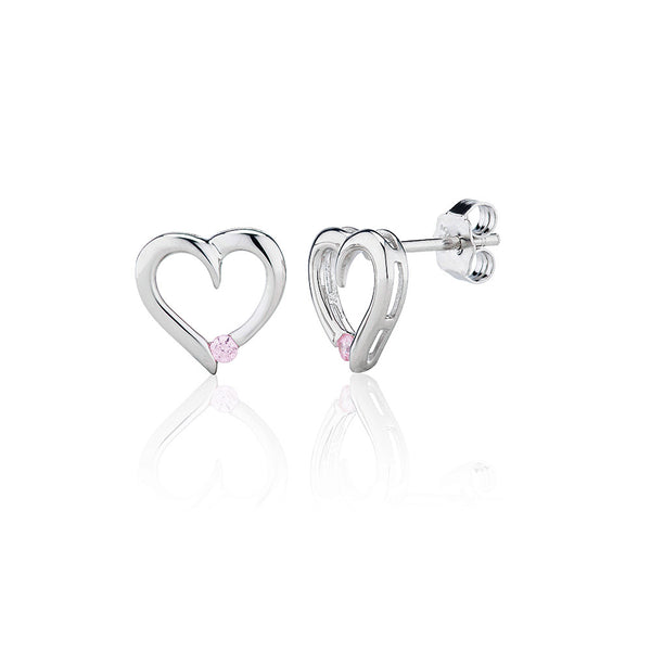 Pink Heart Stud Earrings (0.10ct)