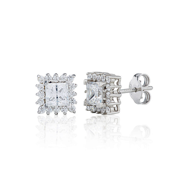 Princess Cut Stud Earrings With Surround (2.30ct)