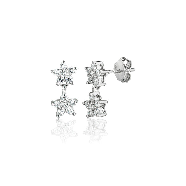 Double Cluster Drop Earrings (1.00ct)