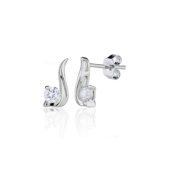 Twirl Stud Single Stone Earrings (0.60ct)