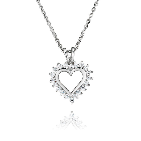 Heart Pendant with Surrounded Stones (0.50ct)