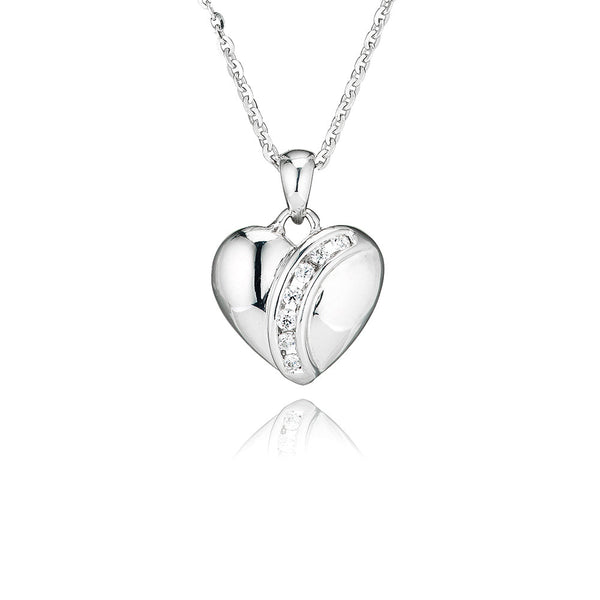 Heart Pendant With Curved Channel Setting (0.15ct)