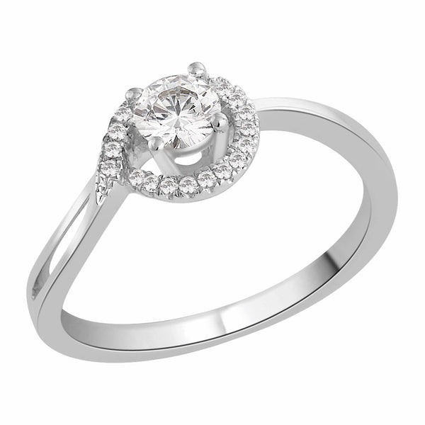 Curved Band Engagement Ring