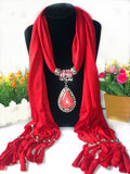 Wind & Water Drop Pendant Necklace Wrap Soft Tassel Scarf