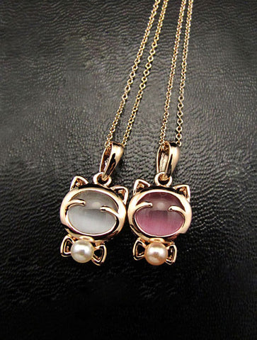 Cute Cat Moon Stone Necklace & Earrings Set