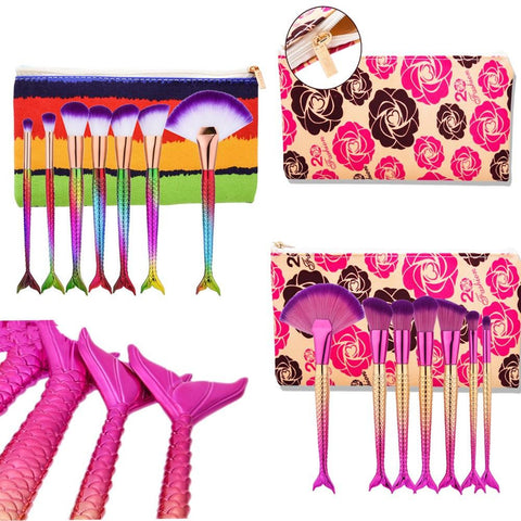 Mermaid Makeup Brush sets+Bag