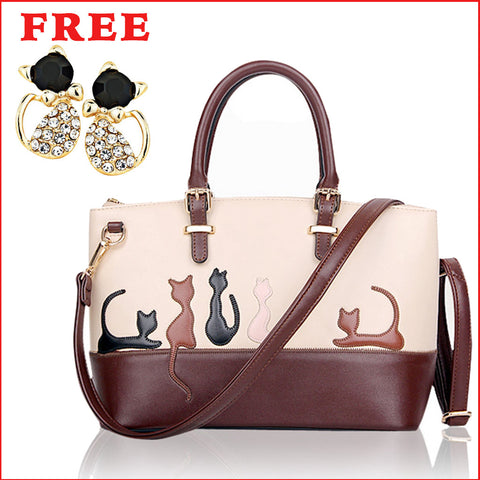 Cat Designer Shoulder Handbag + FREE Pair Of Stylish Cat Earrings