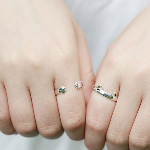 A Pair of Gentle Kitty Cat Ears & Paws Silver Plated Women Rings
