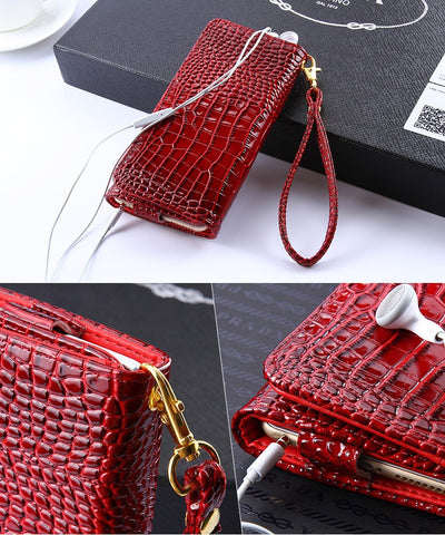 Luxury Crocodile Phone Wallet Pouch + Free Shipping