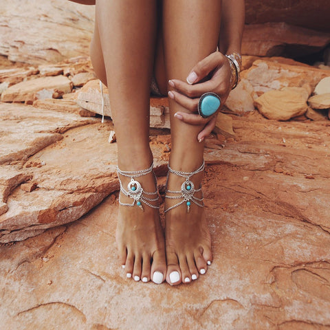 2 Turquoise Boho Chic Silver Anklets (Pair) + Free Shipping
