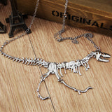 Metal Dinosaur Skeleton T-Rex Charm Necklace