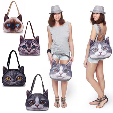 Cute Cat Pattern Shoulder Handbag