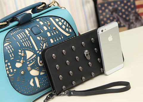 Black Skull Clutch Phone Wallet + Free Shipping