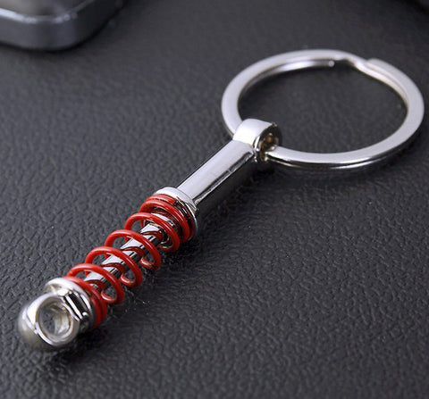 Elegant Red & Silver Metal Motorcycle Mono SHOCK Absorber Keychain