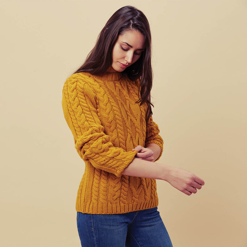 Womens british wool cable jumper