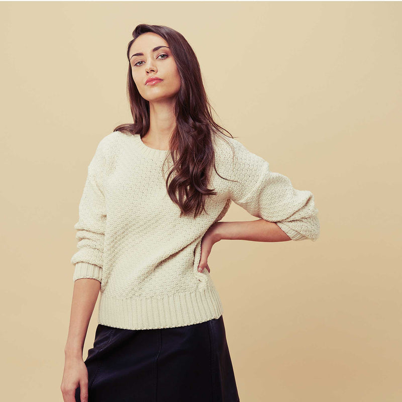 womens merino moss stitch jumper manufacturer
