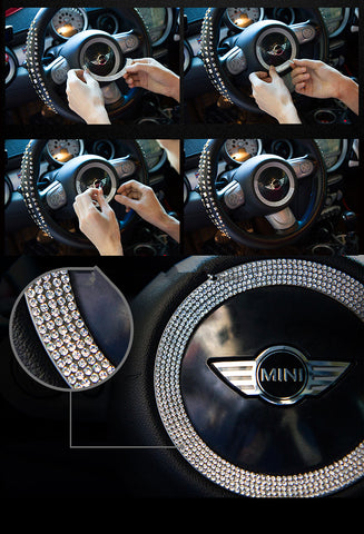 Instruction to attach bling mini cooper steering wheel sticker