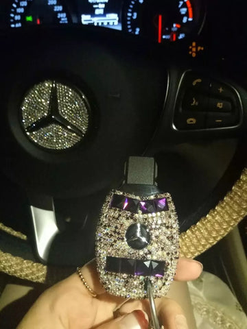 Bedazzled Bling Mercedes Benz Crystal Car Key Holder with Rhinestones
