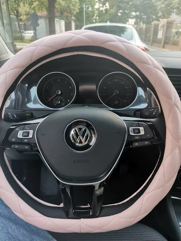 D shaped soft pink steering wheel cover