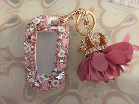 Pink Bling Car Key Holder with Rhinestones and flowers for BMW