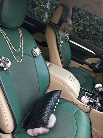 Emerald Car seat covers with Pearl and Flowers