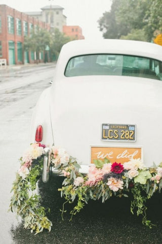 Just married getaway car flower