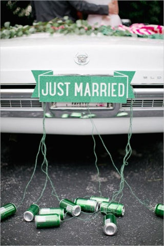 Just married sign for wedding cars