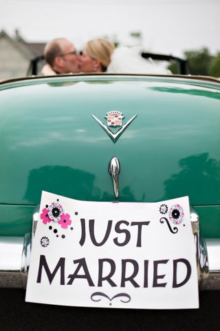 Just married sign for wedding car
