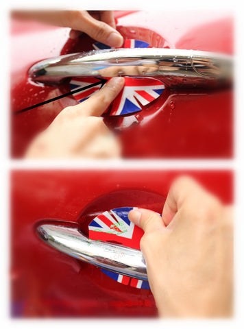 British Jack flag Door handle guard mini cooper Installation