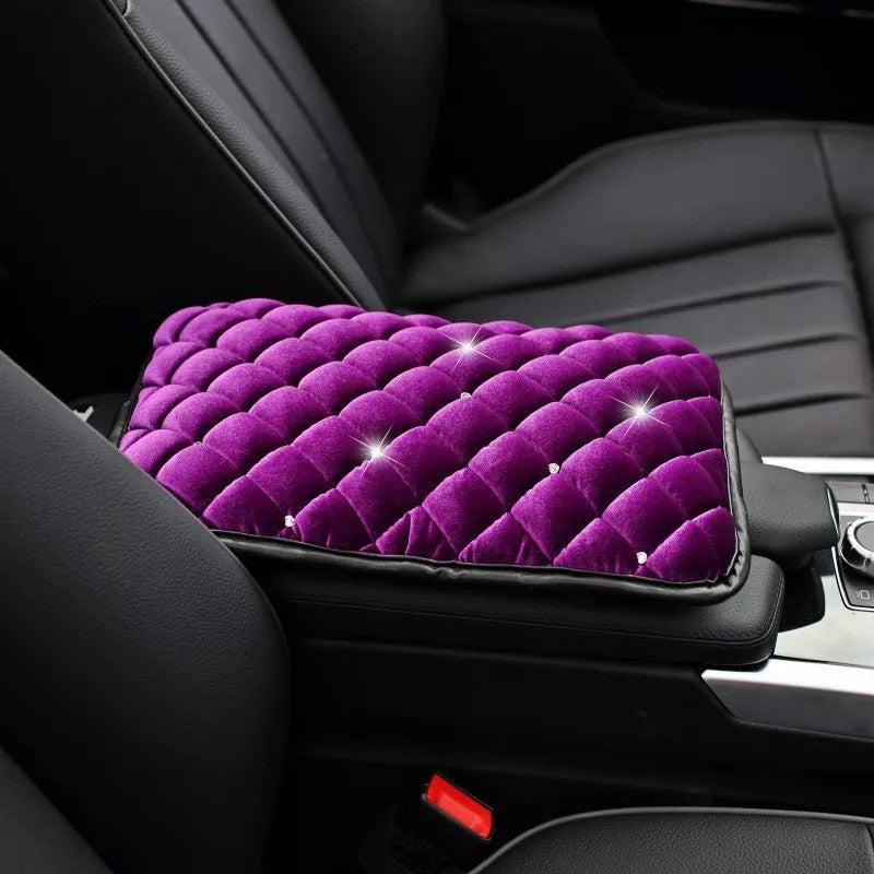 Purple Velvet Bling Car Center Console Cover with Bling Rhinestones - Carsoda - 1