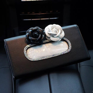 Car Sun Visor Organizer Tissue Box with Camellias - Carsoda - 2