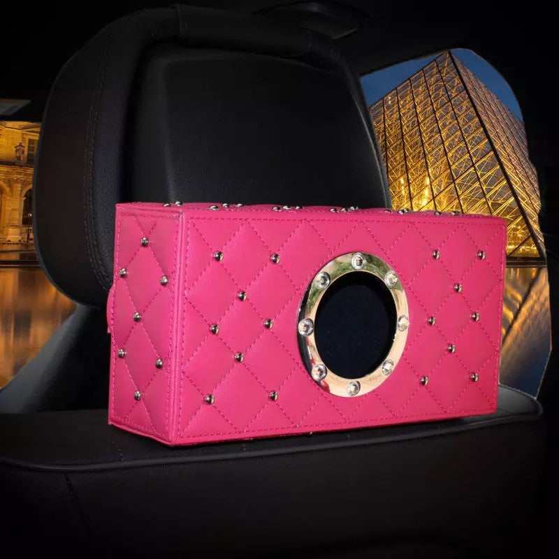 Hot Pink Car Seat Back Tissue Box with Bling Crystals - Carsoda