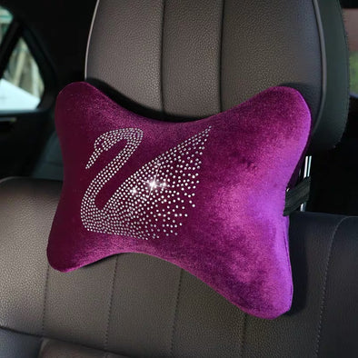 Purple Velvet Bling Swan Car Accessories Set - Seat covers, pillows, cushion, tissue box, gear shift/brake covers.