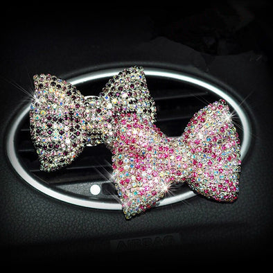 Bling Rhinestones Bow Air Vent Decoration with Freshener