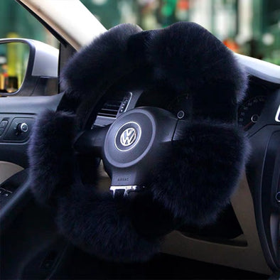 D-Shaped Fluffy fur Sherpa Steering wheel cover for Winter