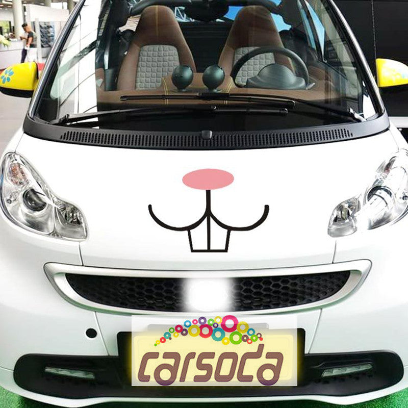 Funny Bunny Rabbit Teeth Decal Vinyl Sticker For VW Beetles/Mini coopers/Smart - Carsoda - 1