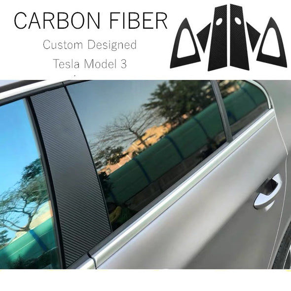 TESLA Model 3 Custom Designed Window Center Pillar Cover Trim Anti-Scratch Carbon Fiber Stickers (6 Pcs)